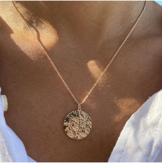 Large maya medal chain necklace