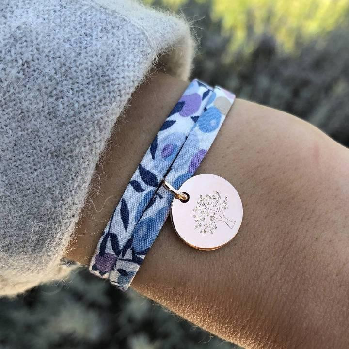 Rose gold-plated liberty bracelet with tree of life medal