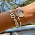 925 Silver Half bangle and large link chain bracelet with medal and pompom