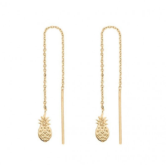 Rod and chain earrings with pineapple