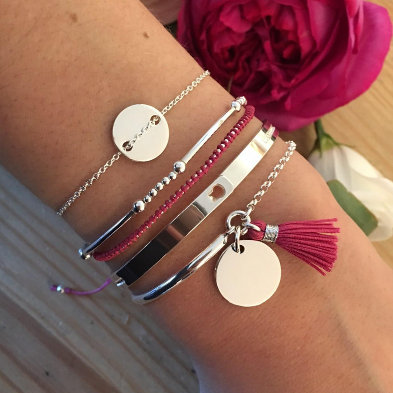 Pink braided with small beads bracelet