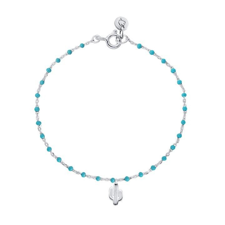 Chain bracelet with turquoises beads and cactus