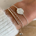 925 Silver chain bracelet with clover medal