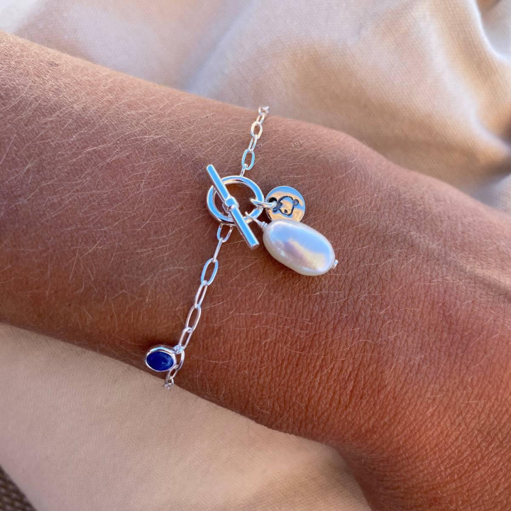 925 Silver Link chain bracelet with freshwater pearl & lapis lazuli