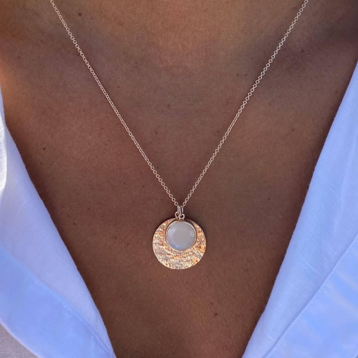 Gold-plated Maya medal & moonstone chain necklace
