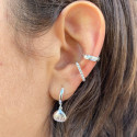 925 silver facetted open ring earring