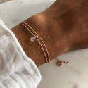 Rose gold-plated tie bracelet with moonstone