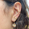 Gold-plated striated open ring earring