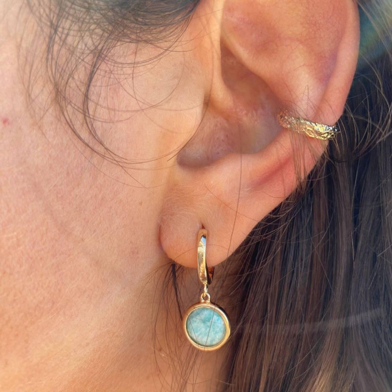 Gold-plated facetted open ring earring