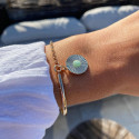 Gold-plated half bangle and chain bracelet with striated amazonite medal