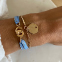 Gold-plated half bangle and chain bracelet with small perforated star medal