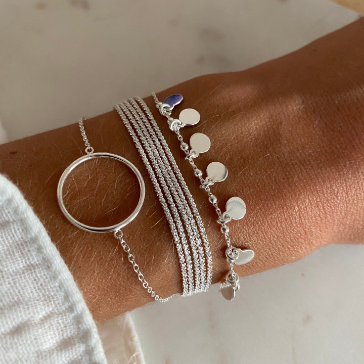 925 Silver chain bracelet with 8 mini medals