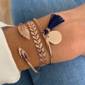 Rose gold-plated open bangle bracelet with asymmetric feathers