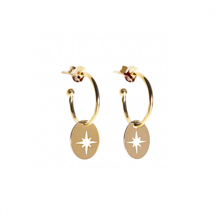 Gold-plated hoop earrings with star medal
