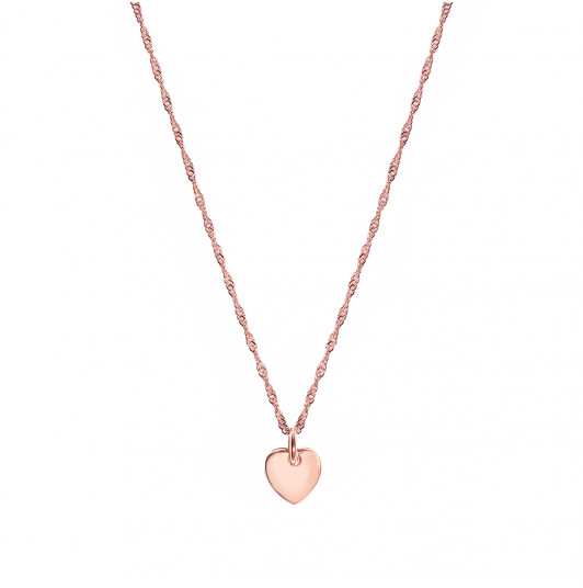 Thick twisted chain necklace & small heart medal