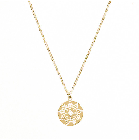 Dotted sun medal chain necklace