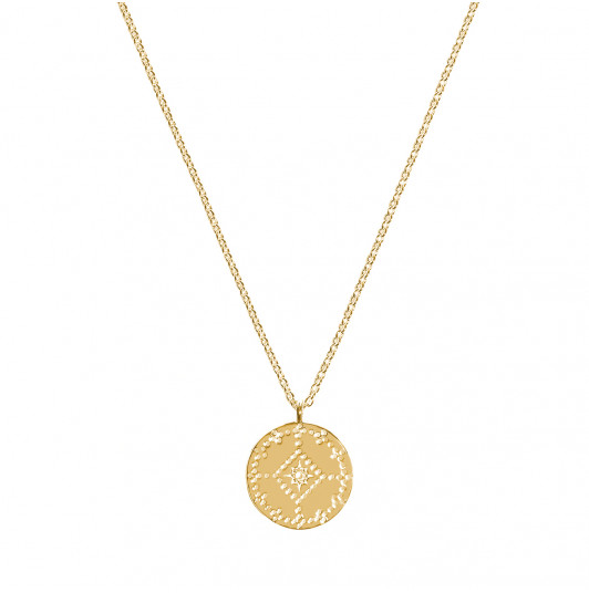 Dotted lozenge medal chain necklace