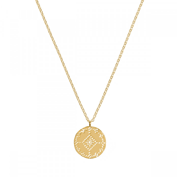 Gold-plated dotted lozenge medal chain necklace