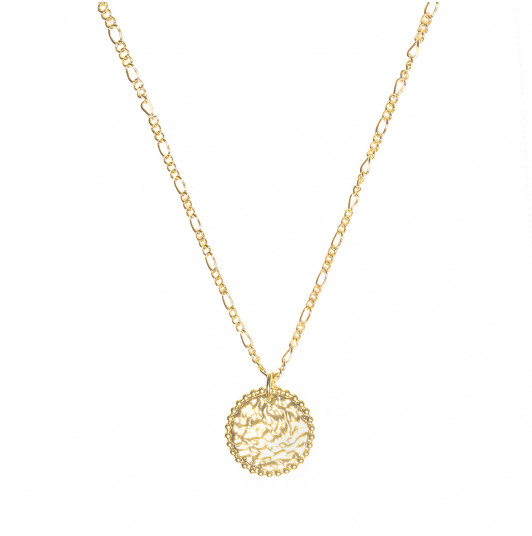 Beaded & textured medal chain necklace