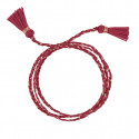 Rose gold-plated raspberry triple braided tie bracelet with pompoms