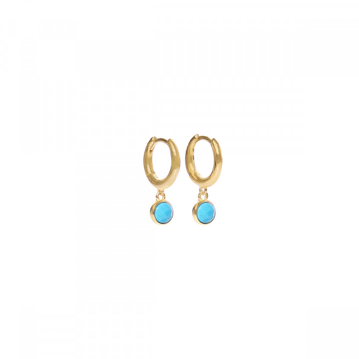 Gold-plated turquoise hoop earrings