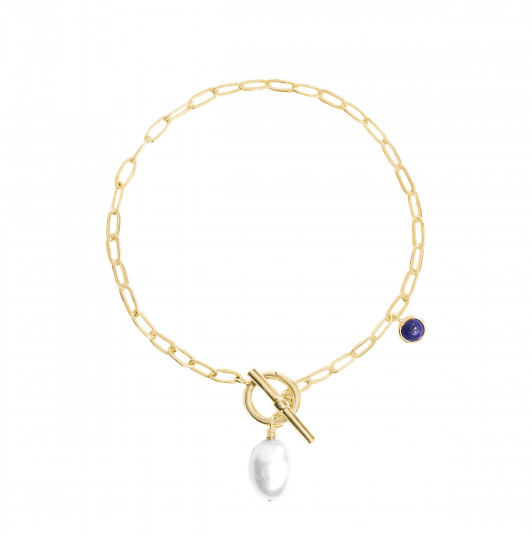 Link chain bracelet with freshwater pearl & Lapis Lazuli