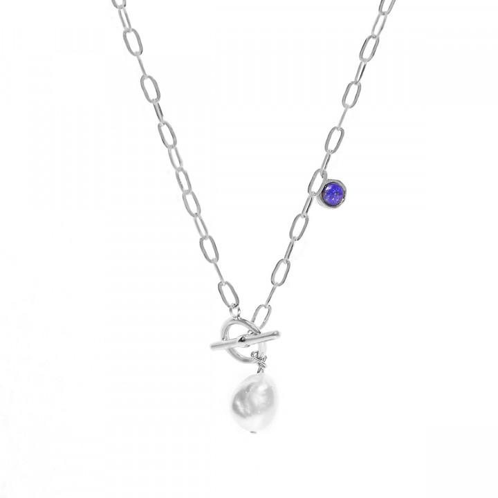 925 Silver Link chain necklace with freshwater pearl & lapis lazuli