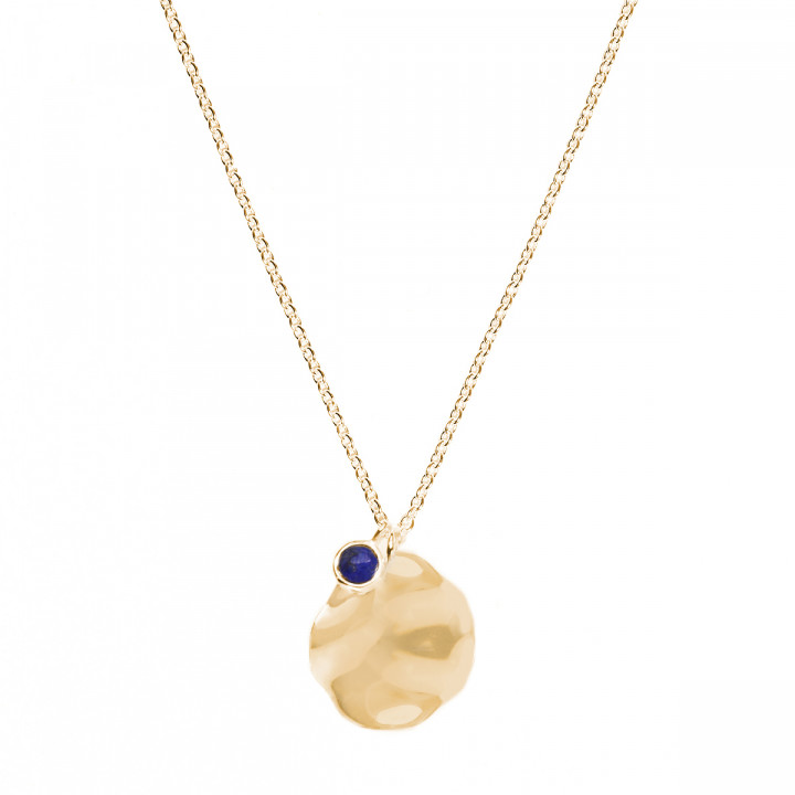 Medal chain necklace with lapis lazuli