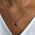 Rose gold-plated beaded chain necklace