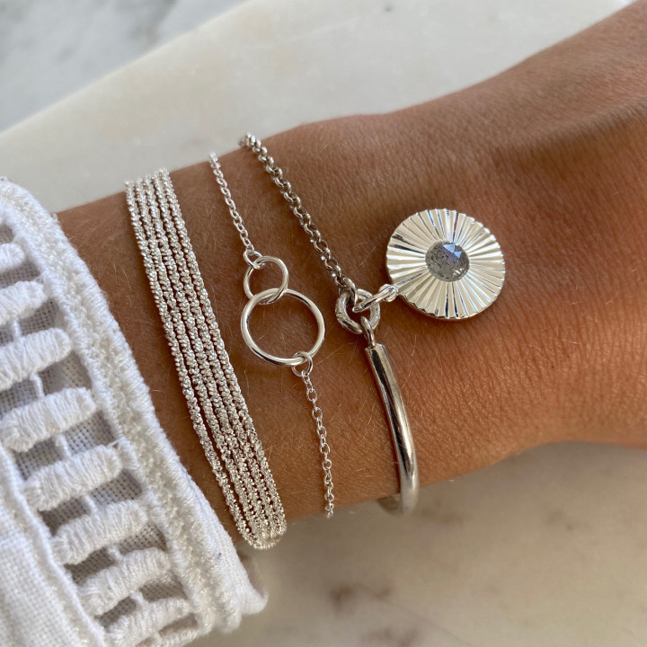 925 Silver half bangle and chain bracelet with striated labradorite medal