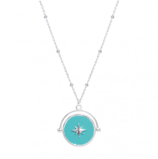 Celestial & turquoise green star necklace