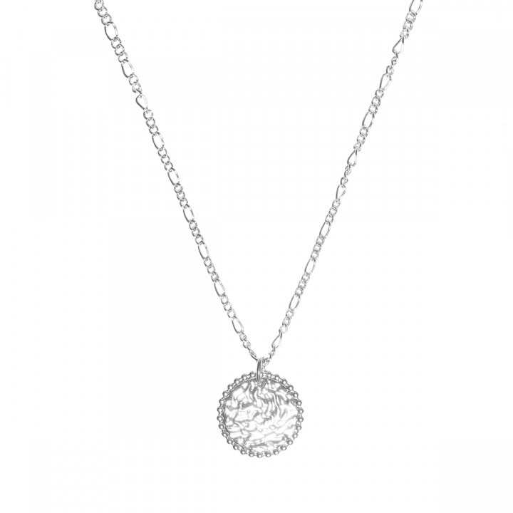 925 Silver beaded & textured medal chain necklace