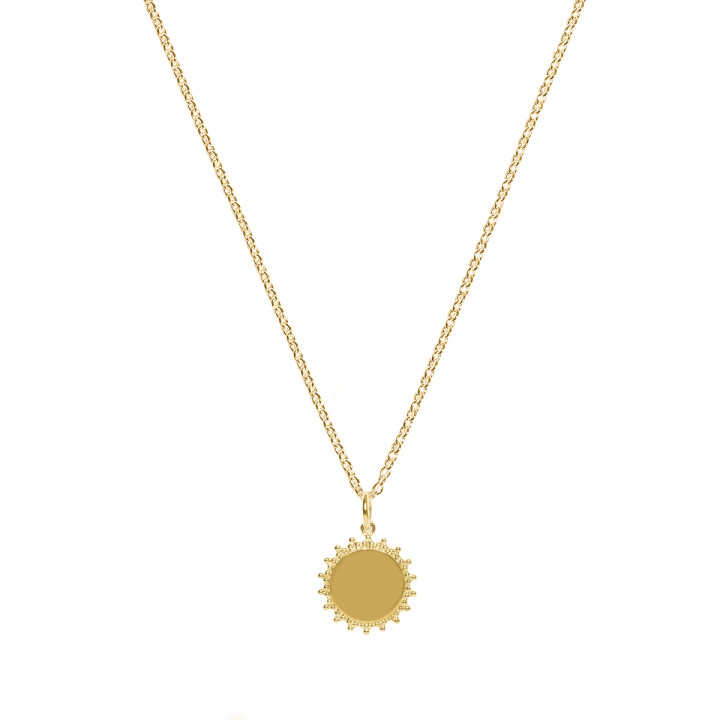 Gold-plated chain necklace with sun medal