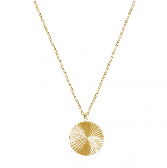 Large striated medal chain necklace