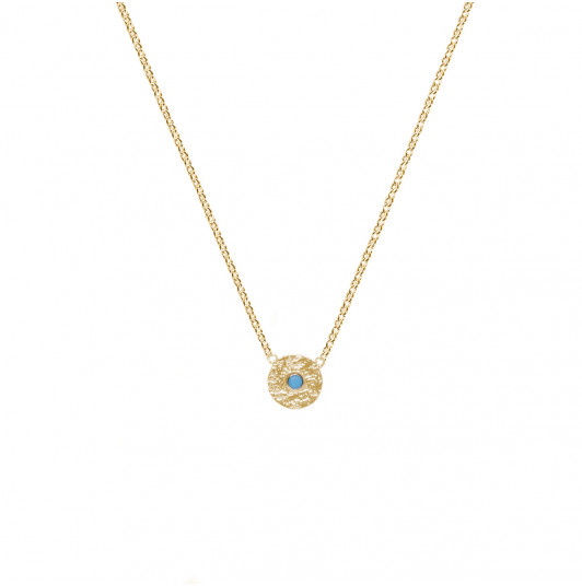 Chain necklace with textured medal & turquoise