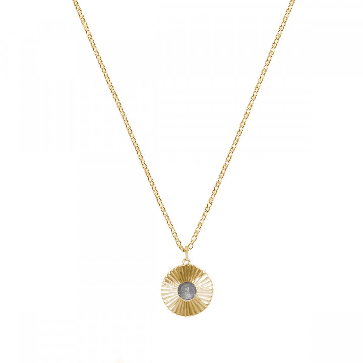 Gold-plated chain necklace with labradorite striated medal