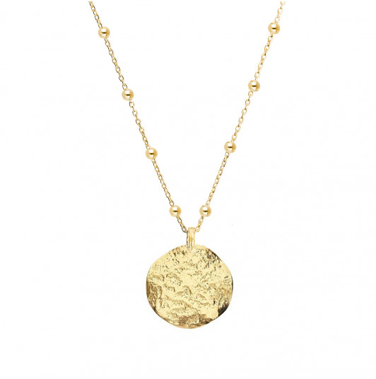Small atlas medal beaded chain necklace