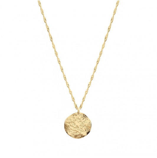 Thick twisted chain necklace & small Atlas medal