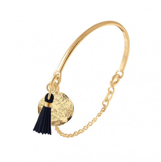 Half bangle and chain bracelet with small Atlas medal & pompom