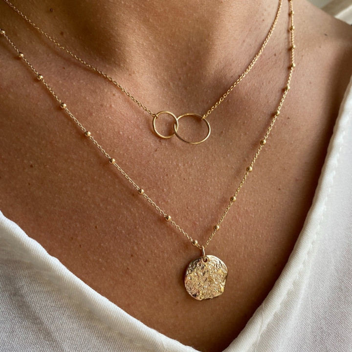 Gold-plated small Atlas medal beaded chain necklace