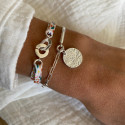 925 Silver Half bangle and large link chain bracelet with maya medal