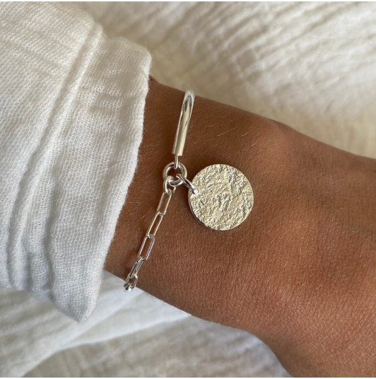 Half bangle and large link chain bracelet with Maya medal