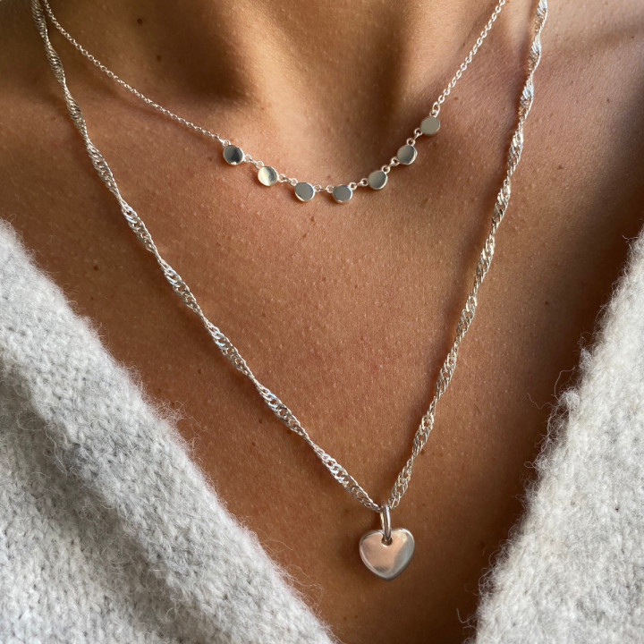 925 Silver heart & medals necklace set