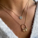 Gold-plated chain necklace with small hammered medal