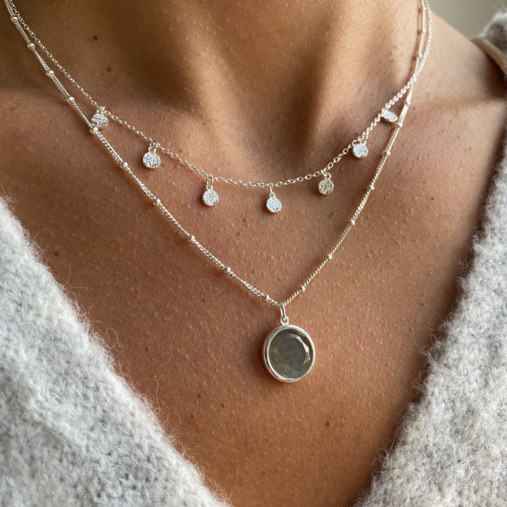 925 Silver chain necklace with 7 small textured medals