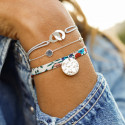 Liberty bracelet with 925 silver hammered medal
