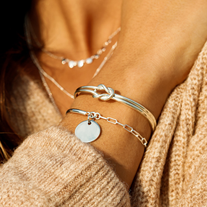 925 Silver Half bangle and chain bracelet with medal and large links