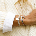 925 Silver liberty bracelet with T-toggle & small heart medal