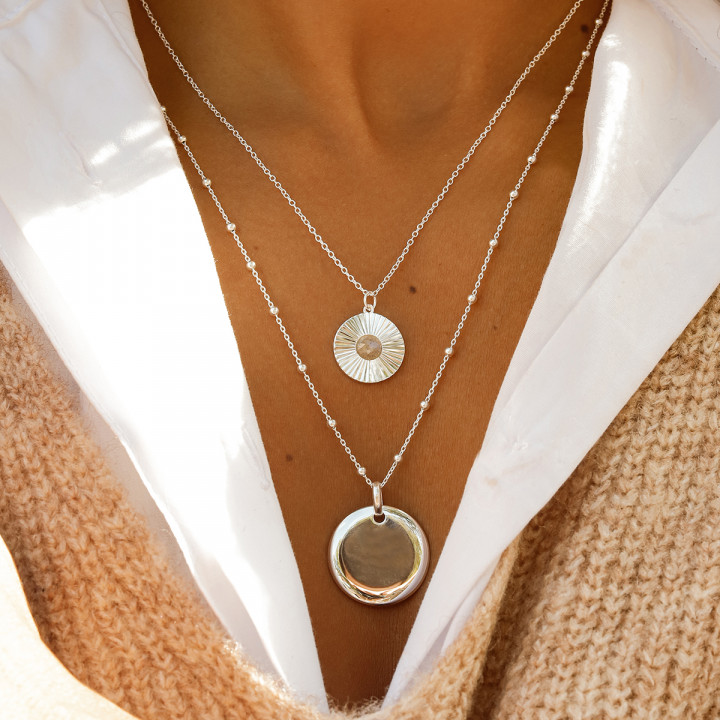 925 silver chain necklace with labradorite striated medal