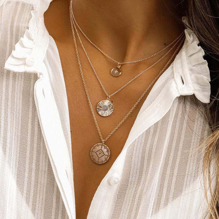 Gold-plated shining star chain necklace